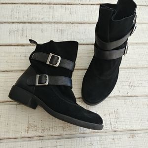 MIA Suede/Leather Buckle Ankle Women's Booties
